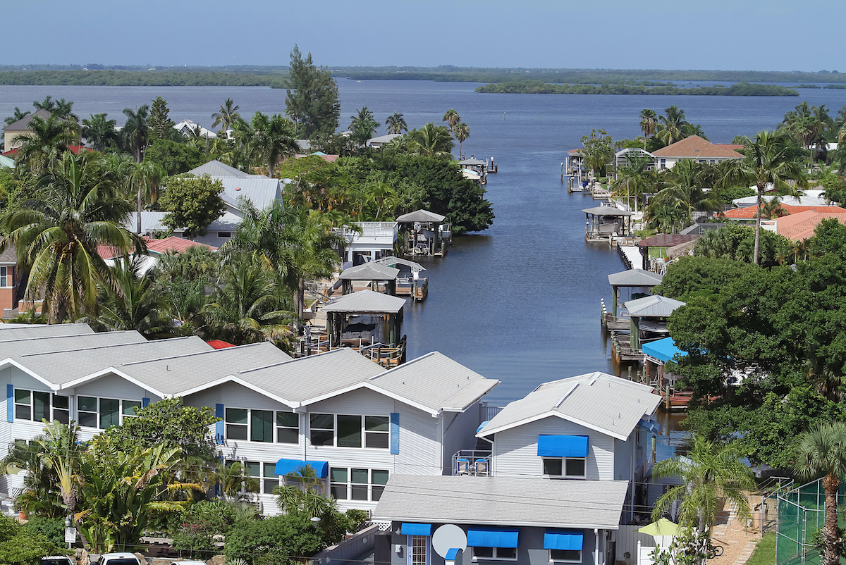 palm trees and homes along florida inlet - Are Your Trees Ready for the Next Big Florida Storm?